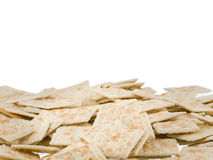 Soda crackers bottom border isolated on white background Stock Photos