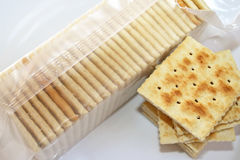 Soda Crackers - ideal as a snack and with soup Royalty Free Stock Photos