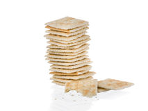 Soda crackers single stack half eaten isolated on white backgro Royalty Free Stock Photos