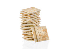 Soda crackers single stack isolated on white background Royalty Free Stock Photo