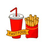 Soda cup with straw. french fries, fried potatoes in paper box isolated on background. Lemonade drink. Fast food concept. Vector royalty free illustration