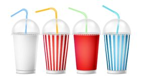 Free Soda Cup Template Vector. 3d Realistic Paper Disposable Cups Set For Beverages With Drinking Straw. Isolated On White Stock Photo - 102556640
