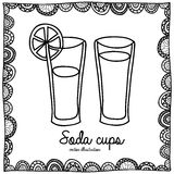 Soda cups drawing Royalty Free Stock Photo
