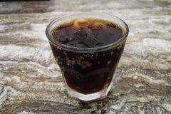Soda da cola na grama com gelo Fotografia de Stock