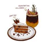 Soda del frutto della passione e del dolce alle carote con il caffè del caffè espresso, vettore di schizzo di tiraggio della mano illustrazione vettoriale