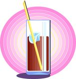 Soda Drink. A cool tasty glass of soda with ice and a straw Royalty Free Stock Image