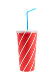 Soda drink with blue straw Royalty Free Stock Photos