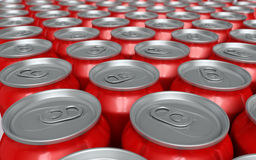 Soda drink cans. 3d render soda drink cans depth of field Royalty Free Stock Images