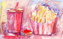 Soda drink with french fries Royalty Free Stock Image