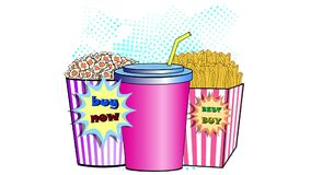 Soda drink popcorn and french fries. food animation.
