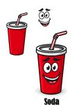 Soda drink in a red takeaway cup with straw Royalty Free Stock Images