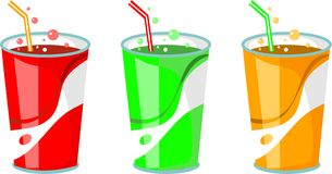 Soda drinks. Row of colourful drinks isolated on white Royalty Free Stock Photo