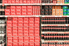Soda Drinks On Supermarket Stand Royalty Free Stock Photography