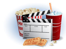 Soda, filmstrip and tickets. On a white background Stock Photo