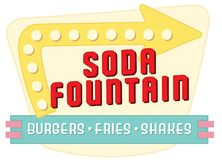 Soda Fountain Diner Sign. Vintage Soda Fountain Diner Sign with Arrow Retro Burgers Fries Shakes vector illustration