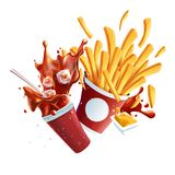Soda and Fries Dynamic Collision. Vector Objects Isolated on White Background. Royalty Free Stock Image