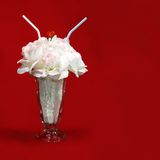 Soda glass bouquet. White rose bouquet in a soda glass Royalty Free Stock Photo