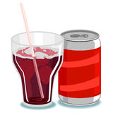 Soda on Glass and Can Royalty Free Stock Images