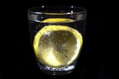 Soda glass and lemon Royalty Free Stock Photos