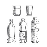 Soda, glasses and mineral water bottles sketch Royalty Free Stock Images