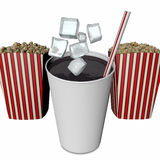 Soda, ice cubes and popcorn Royalty Free Stock Photos