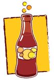Soda pop. Soda Bottle with bubbles and yellow background stock illustration