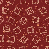 Soda pop and ice cubes seamless pattern. Stock Photos