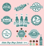 Soda Pop Labels and Stickers. Collection of vintage style soda pop labels and stickers Stock Image