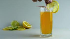 Soda put straw and lemon stock video