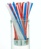 Soda Straws. Red White and Blue Soda Straws in glass container Stock Photos