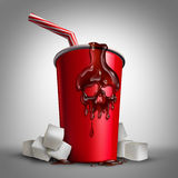 Soda Sugar Risk. As a cup with cola inside as a drop of liquid shaped as a skull as a metaphor for the health issues of drinking sweet drinks with 3D Royalty Free Stock Photo