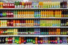 Soda, Syrup And Fruit Juices In A Store Royalty Free Stock Images