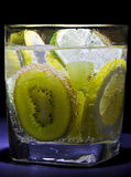 Soda water. Cold soda water with fresh fruits royalty free stock image