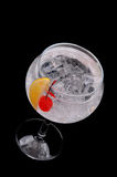 Soda Water with Cherry and Lemon Wedge Royalty Free Stock Images