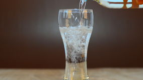 Soda water in glass stock footage