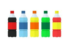 Soda, water and juice or tea bottles icons. Nature drinks. Soda, water and juice or tea bottles. Set of bottles icons. Nature drinks in flat style isolated on Stock Photo