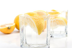 Soda water and lemon Royalty Free Stock Images
