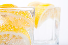 Soda water and lemon slices Royalty Free Stock Photos