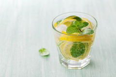 Soda water or mineral water with limes, lemons, ice and mint leaves on light blue background Stock Image