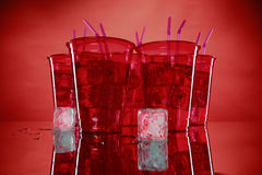 Sodas in plastic cups Stock Photography
