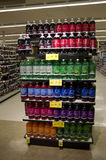 Sodas on store shelves Royalty Free Stock Photos