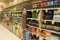 Sodas in supermarket stock photos