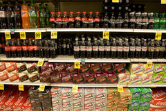 Sodas in supermarket Stock Image