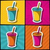 Sodavatten kuper symboler för popkonst vektor illustrationer