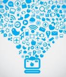 Soddisfare sociale moderno di media Fotografia Stock