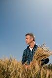 Soddisfazione del coltivatore alla raccolta Fotografia Stock Libera da Diritti