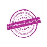 Soddisfazione garantita, trasporto libero - lingua tedesca Immagini Stock Libere da Diritti