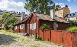 Sodermalm Éstocolmo: Casas residenciais velhas em Skeppargränd fotos de stock