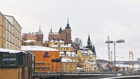 Sodermalm nordico e ponte a Riddarholmen nell'inverno Stockhol Fotografia Stock Libera da Diritti