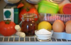 Sodium bicarbonate inside of fridge. Closeup stock photo